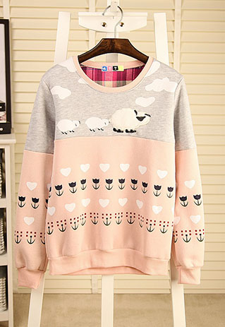 Cute Sheep Flower Print Mixed Colors Crewneck Sweatshirt Pullover ...