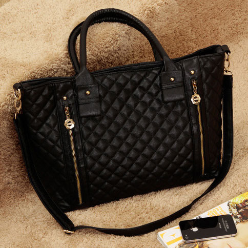 Black Quilted Zipper Purse Tote Shoulder Hand Bag Satchel Grzxy62000264